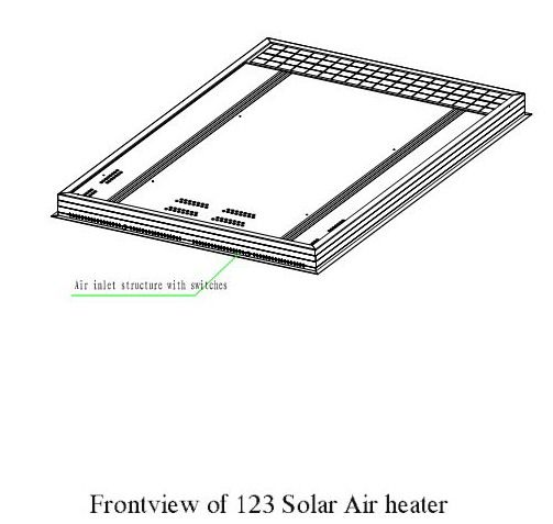Frontview of 123 solar air heater